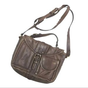 Schuler & Sons brown distressed Crossbody …